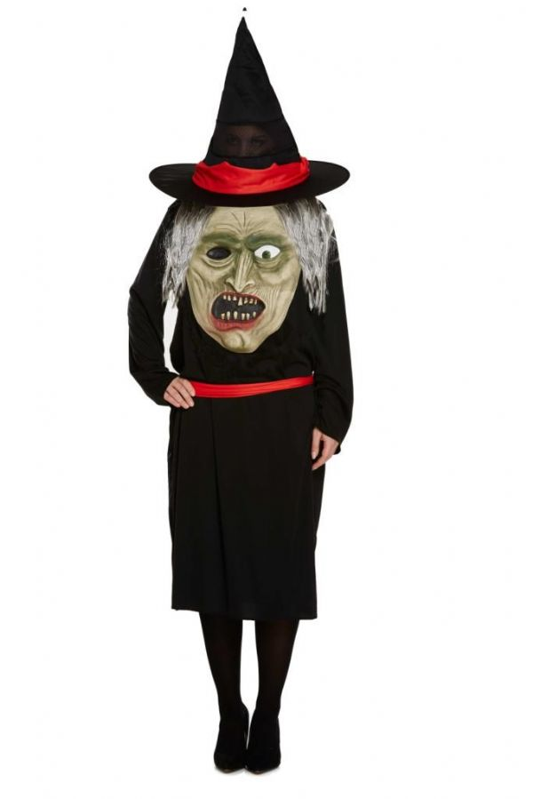 Adult Witch's with Jumbo Head Costume for Ladies Unisex Halloween Fancy Dress Up Outfit One Size